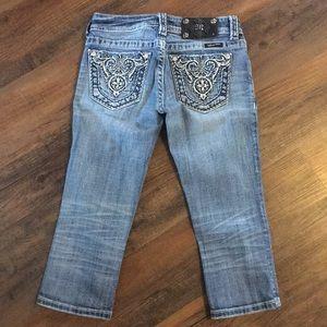 Miss Me Embellished Capris Crop Jeans 25